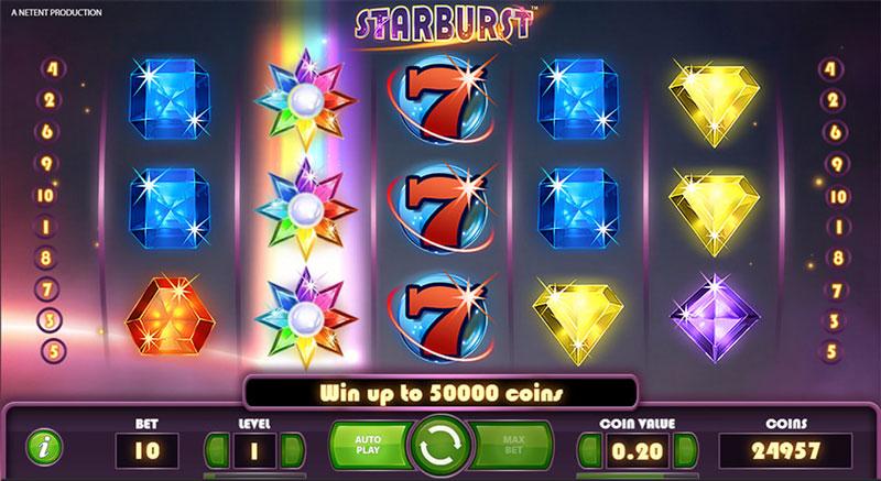 โบนัสและการเล่น Starburst Slot
